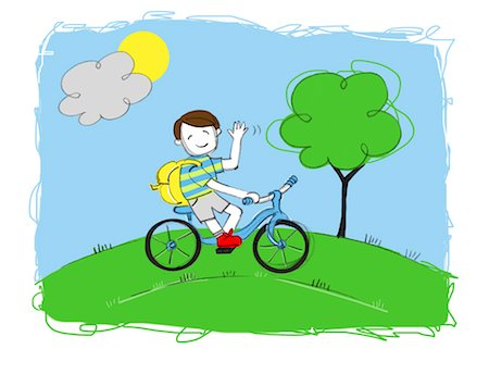 drawing (artwork) - Illustration of Boy Riding a Bike Stock Photo - Premium Royalty-Free, Code: 600-03665747