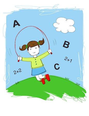 Illustration of Little Girl Skipping Rope Stock Photo - Premium Royalty-Free, Code: 600-03665749