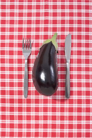 Eggplant with Fork and Knife Stock Photo - Premium Royalty-Free, Code: 600-03682027