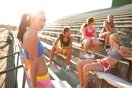 Teenagers on Bleachers by Race Track, Lake Oswego, Oregon, USA Stock Photo - Premium Royalty-Free, Code: 600-03696765