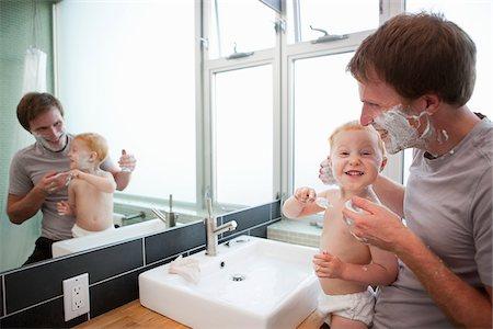 Father and Son Shaving in Bathroom, Portland, Oregon, USA Stock Photo - Premium Royalty-Free, Code: 600-03696766