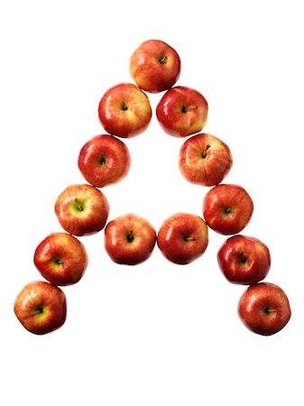 Apples Forming Letter A Stock Photo - Premium Royalty-Free, Code: 600-03738372