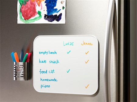 fridge - To Do List on Fridge Stock Photo - Premium Royalty-Free, Code: 600-03738387