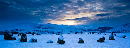 panoramic winter scene - Castlerigg Stone Circle, Cumbria, North West England, England, United Kingdom Stock Photo - Premium Royalty-Free, Code: 600-03738563