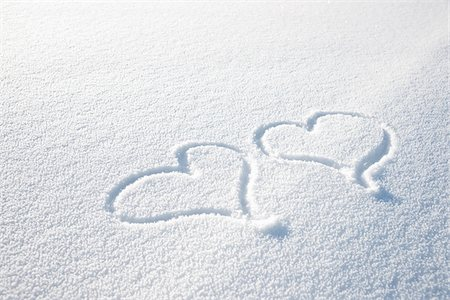 Heart Shapes in Snow Stock Photo - Premium Royalty-Free, Code: 600-03738783