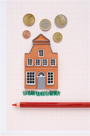 House, Coloured Pencil and Euros on Graph Paper Stock Photo - Premium Royalty-Free, Code: 600-03738816
