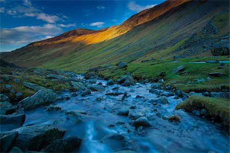 stream - Gatesgarthdale Beck running downstream towards Bettermere from Honister Pass, Lake District, Cumbria, England Stock Photo - Premium Royalty-Free, Code: 600-03732446