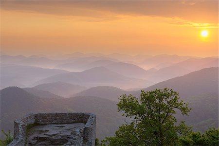 Wegelnburg and Mountains at Sunrise, Nothweiler, Pfalzerwald, Rhineland-Palatinate, Germany Stock Photo - Premium Royalty-Free, Code: 600-03762462