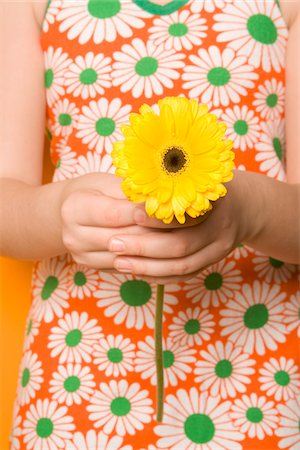 floral pattern - Girl Holding Gerbera Daisy Stock Photo - Premium Royalty-Free, Code: 600-03762551