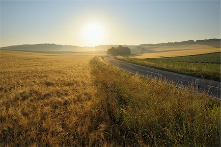 roads and sun - Country Road and Wheat Fields, Hettstadt, Wurzburg District, Franconia, Bavaria, Germany Stock Photo - Premium Royalty-Free, Code: 600-03787406