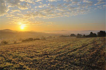 Sunrise, Wenighoesbach, Aschaffenburg, Franconia, Spessart, Bavaria, Germany Stock Photo - Premium Royalty-Free, Code: 600-03787425