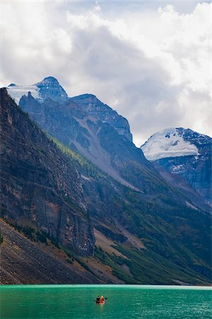 Canoeing on Lake Louise with Mount Aberdeen and Mount Lefroy in Background, Banff National Park, Alberta, Canada Stock Photo - Premium Royalty-Free, Code: 600-03805335