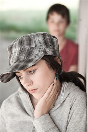 sad lovers break up - Girl and Boy Leaning on Wall Stock Photo - Premium Royalty-Free, Code: 600-03836166