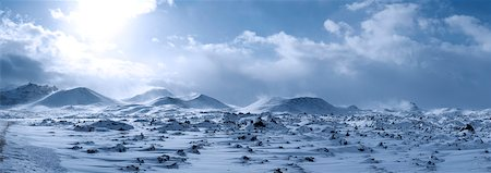 panoramic winter scene - Lava Field and Mountains from Snaefellsnes Peninsula, Northwest Region, Iceland Stock Photo - Premium Royalty-Free, Code: 600-03836440