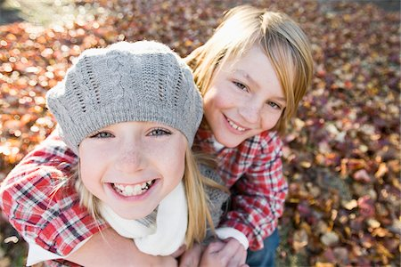 Portrait of Boy and Girl in Autumn Stock Photo - Premium Royalty-Free, Code: 600-03848745