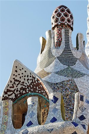 Gaudi Building, Parc Guell, Barcelona, Spain Stock Photo - Premium Royalty-Free, Code: 600-03848944