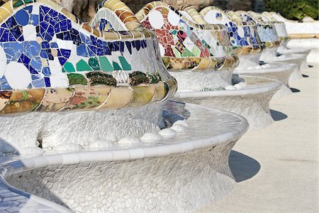 Close-up of Mosaics on Gaudi Building, Parc Guell, Barcelona, Spain Stock Photo - Premium Royalty-Free, Code: 600-03848946