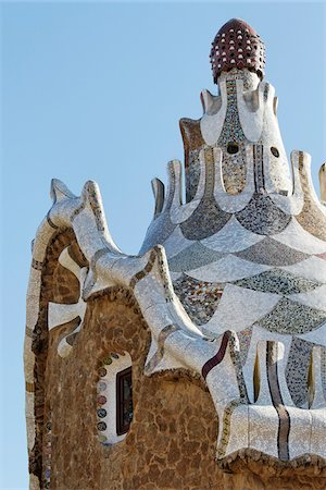 Gaudi Building, Parc Guell, Barcelona, Spain Stock Photo - Premium Royalty-Free, Code: 600-03848947