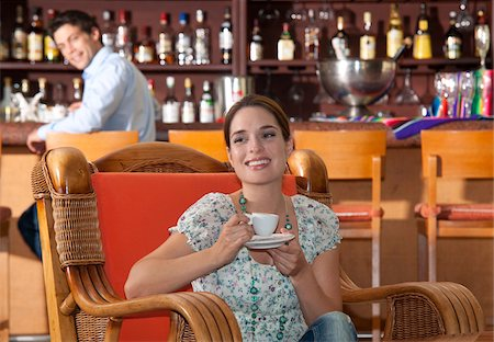 Woman Drinking Espresso, Reef Playacar Resort and Spa Hotel, Playa del Carmen, Quintana Roo, Yucatan Peninsula, Mexico Stock Photo - Premium Royalty-Free, Code: 600-03849642