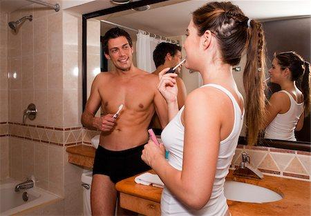 Couple in Bathroom, Reef Playacar Resort and Spa, Playa del Carmen, Mexico Stock Photo - Premium Royalty-Free, Code: 600-03849666