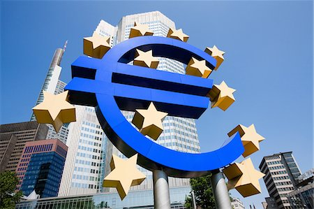 european (places and things) - Euro sign outside European Central Bank, Frankfurt, Germany Stock Photo - Premium Royalty-Free, Code: 614-05792103