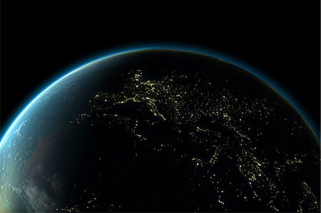Planet earth with lights of Europe at night Stock Photo - Premium Royalty-Free, Code: 614-05955538