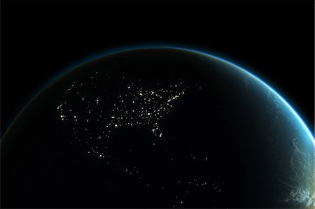 Planet earth with lights of North America at night Stock Photo - Premium Royalty-Free, Code: 614-05955539