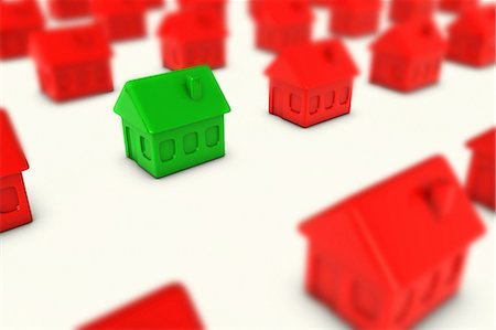 One green house amongst many red houses Stock Photo - Premium Royalty-Free, Code: 614-05955552