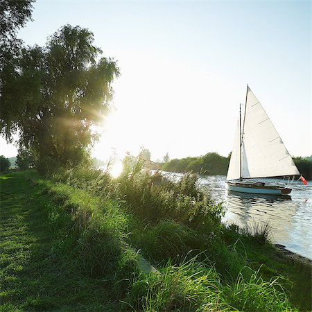 Sailing boat on the Norfolk Broads, Norwich, Norfolk, UK Stock Photo - Premium Royalty-Free, Code: 614-05955588