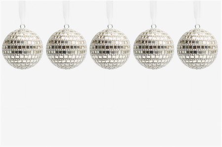 Five disco ball christmas baubles Stock Photo - Premium Royalty-Free, Code: 614-05955760