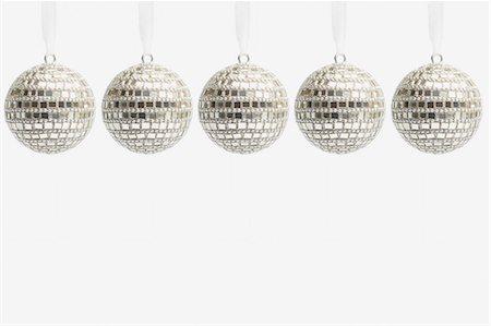 Five disco ball christmas baubles Stock Photo - Premium Royalty-Free, Code: 614-05955760