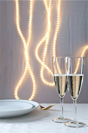 Glasses of champagne on table at an event Stock Photo - Premium Royalty-Free, Code: 614-06002044