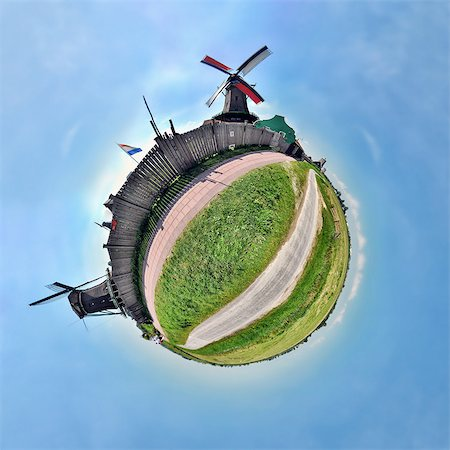 Windmills of Zaanse Schans, Netherlands, little planet effect Stock Photo - Premium Royalty-Free, Code: 614-06002162
