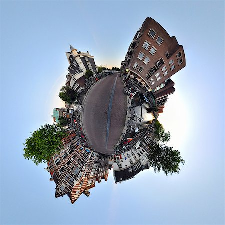 Lijnbaansgracht canal, Amsterdam, little planet effect Stock Photo - Premium Royalty-Free, Code: 614-06002175