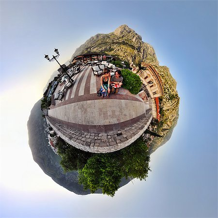 different - Family on vacation in Kotor, Montenegro, little planet effect Stock Photo - Premium Royalty-Free, Code: 614-06002173