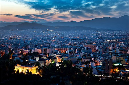 Cityscape at night, athens, greece Stock Photo - Premium Royalty-Free, Code: 614-06002501