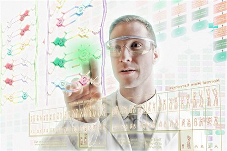 Scientist interacting with holographic screens Stock Photo - Premium Royalty-Free, Code: 614-06044013