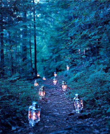 Lanterns marking a path through the woods Stock Photo - Premium Royalty-Free, Code: 614-06116084