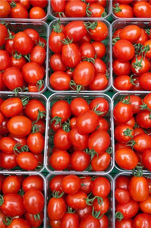 Small plum tomatoes in containers Stock Photo - Premium Royalty-Free, Code: 614-06169175