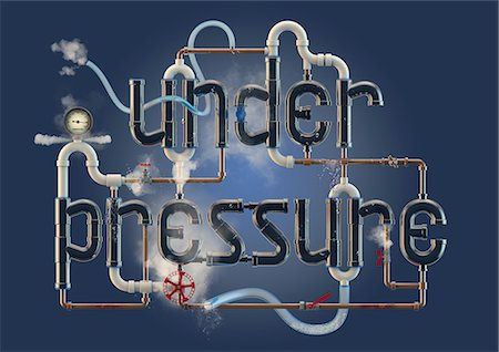 pressure - Under Pressure - word illustration formed from pipes Stock Photo - Premium Royalty-Free, Code: 614-06169465
