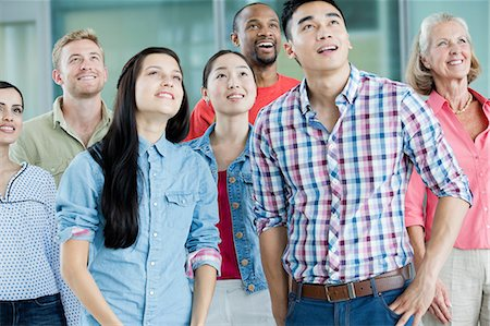 staff - Group of people looking up Stock Photo - Premium Royalty-Free, Code: 614-06169526