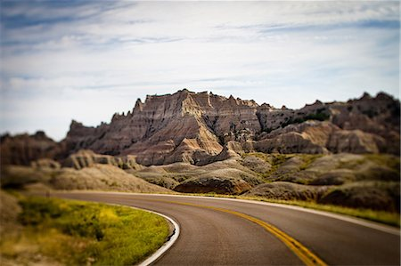 rugged landscape - Highway in Badlands National Park, South Dakota, USA Stock Photo - Premium Royalty-Free, Code: 614-06311735