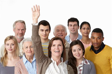 Group of people, woman with arm raised Stock Photo - Premium Royalty-Free, Code: 614-06311765