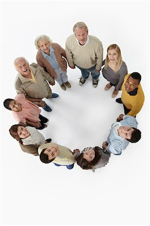Group of people in a circle, high angle view Stock Photo - Premium Royalty-Free, Code: 614-06311763