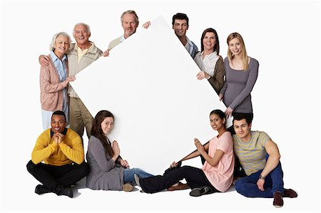 Group of people holding blank notice board Stock Photo - Premium Royalty-Free, Code: 614-06311782