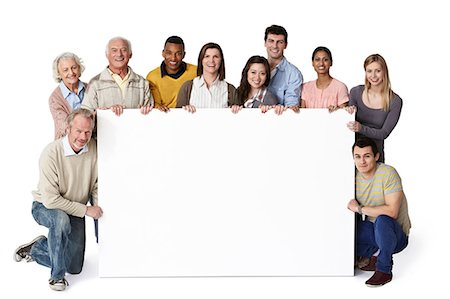 Group of people holding blank notice board Stock Photo - Premium Royalty-Free, Code: 614-06311797