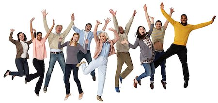 Group of people jumping, studio shot Stock Photo - Premium Royalty-Free, Code: 614-06311802