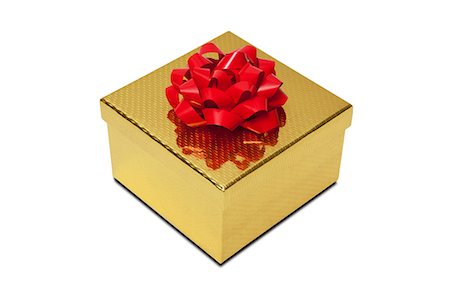 Golden gift box with red bow Stock Photo - Premium Royalty-Free, Code: 614-06336104