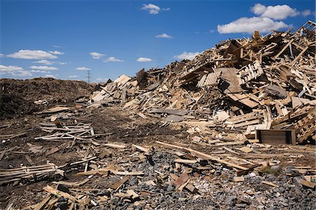 Pile of discarded wood at waste management site Stock Photo - Premium Royalty-Free, Code: 614-06403009