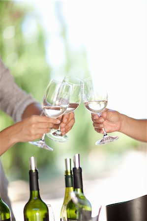 Friends toasting with wine outdoors Stock Photo - Premium Royalty-Free, Code: 614-06623885